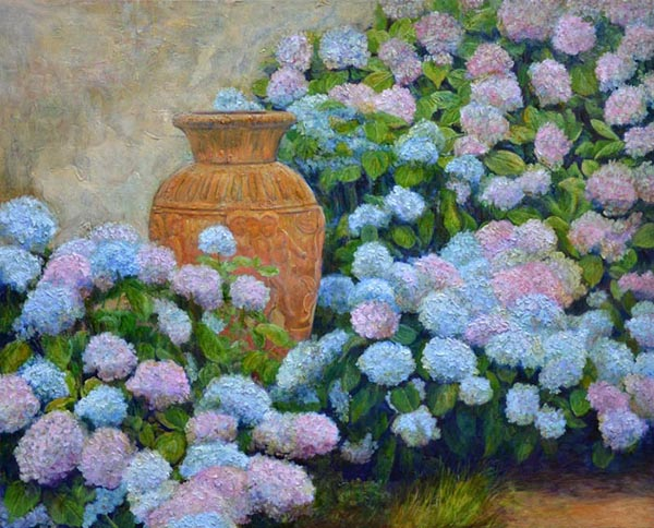 Hydrangeas, Lucca, Italy -  Landscape Paintings by Marlena Lyn Chumo